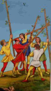 Significado e Conselho Carta de Tarô Cinco de Paus