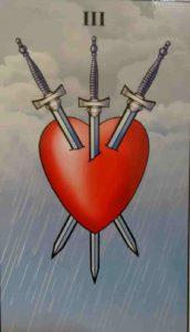 Significado e Conselho  Carta de Tarô Três de Espadas